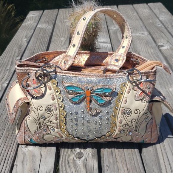 a5ea8751d6 Cowgirl Trendy leather & Rhinestone bag
